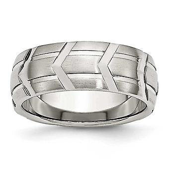Stainless Steel Grooved Brushed Engravable Satin and Polished 8mm Band Ring - Ring Size: 7 to 13
