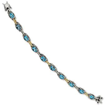 Sterling Silver Antique finish Box Catch Closure With 14k 9.52Swiss Blue Topaz 7.75inch Bracelet