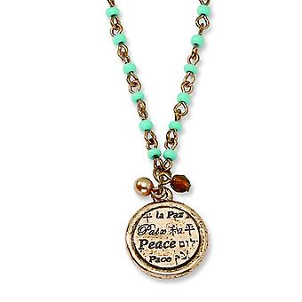 Copper-tone Aqua Beads Peace Pendant 16inch With Ext Necklace