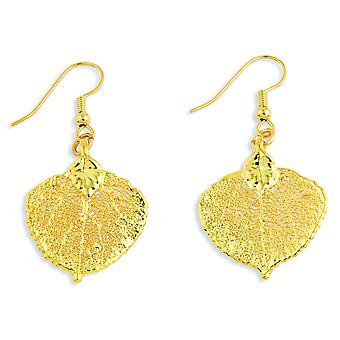 24k Gold Dipped Aspen Leaf Dangle Earrings