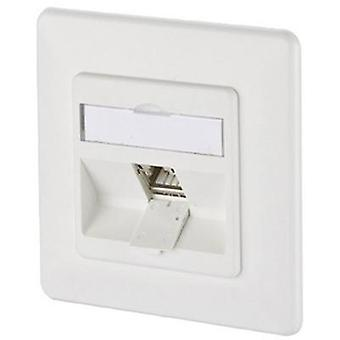 Network outlet Flush mount Insert with main panel and frame CAT 6A 1 port Metz Connect 130B12D11002-E Pure white