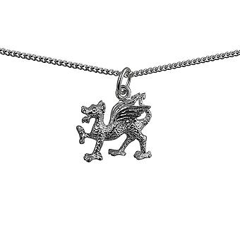 Silver 17x15mm Welsh Dragon Pendant with a curb Chain 24 inches