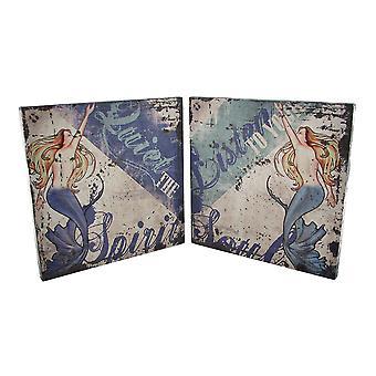 Pair of Inspirational Mermaid Canvas Art Prints 12 X 12