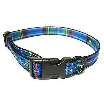 Indulgence Nylon Adjustable Collar Tartan Blue 45-70cm Sz 5-9