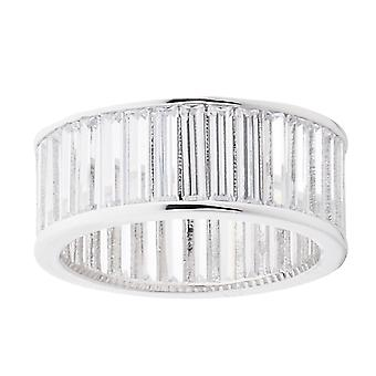 Iced out bling micro pave ring - BAGUETTE stenen zilver