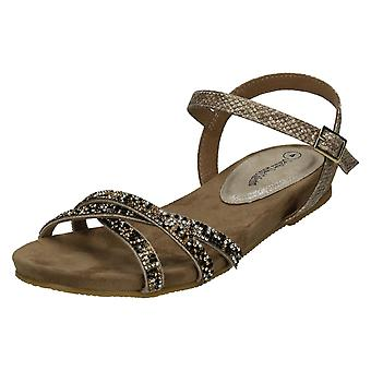 Ladies Leather Collection Flat Diamante Sandals F0980