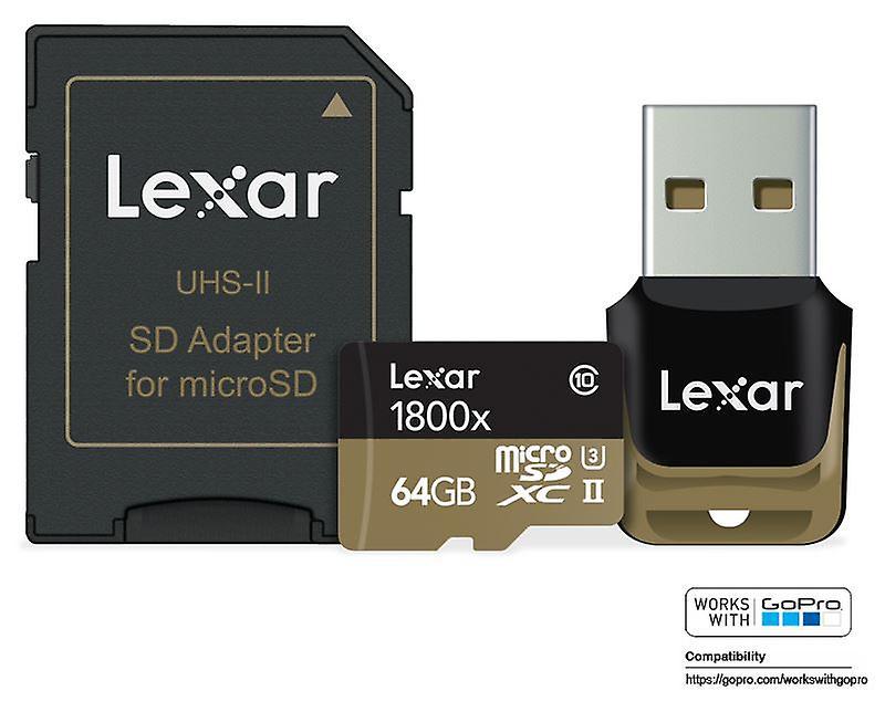 Lexar 64GB Professional 1800x microSDXC UHS-II card + reader - Works with GoPro. LSDMI64GCRBEU1800R