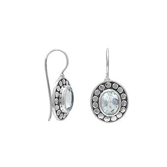 Sterling Silver Oxidized Blue Topaz Wire Earrings Dot Around The Stone Blue Topaz Measures 6mmx8mm