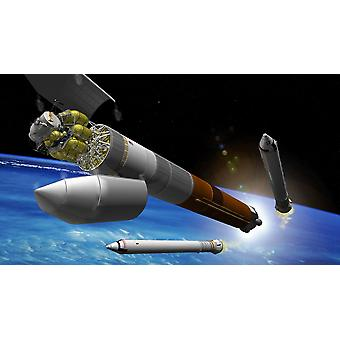 Artist rendition of a heavy-lift rocket blasts off carrying a lunar lander and a departure stage needed to leave Earths orbit Poster Print