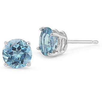 Blue Topaz Stud Earrings, 14K White Gold