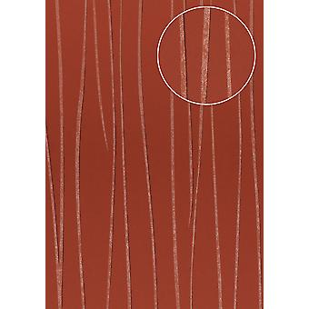 Fine stripe wallpaper Atlas COL-568-3 non-woven wallpaper smooth design shimmering red beige Red 5.33 m2