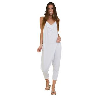 Jersey Jumpsuit - White Drop Crotch Lightweight Stretch Relaxed Fit Playsuit