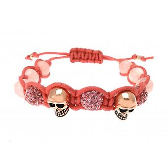 W.A.T Rose Gold Plated Skull And Glitterball Pink Macrame Bracelet