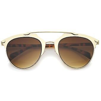 Modern Fashion Matte Metal Frame Double brug Pantos Aviator zonnebril 55mm