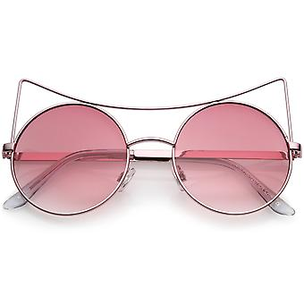 Women's Oversize Open Metal Gradient Round Flat Lens Cat Eye Sunglasses 54mm