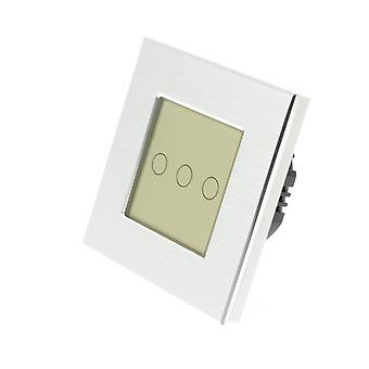 I LumoS Silver Brushed Aluminium 3 Gang 1 Way Touch LED Light Switch Gold Insert
