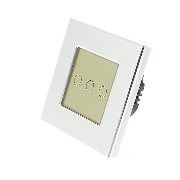 I LumoS argent Brushed Aluminium 3 Gang 1 Way Remote Touch LED Light Switch or Insert