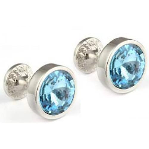 Mousie Bean Crystal Goblet Cufflinks - Aqua Blue