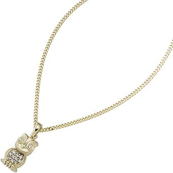 Trailer OWL 333 gold yellow gold Satin with cubic zirconia pendant gold