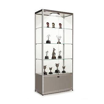 Silver Glass Display Cabinet with Storage & 1 LED Light - 800mm