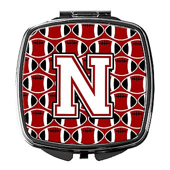 Letter N Football Cardinal and White Compact Mirror