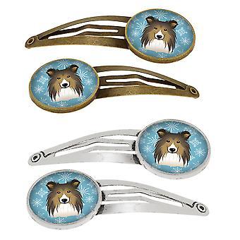 Carolines tesori BB1676HCS4 Snowflake Sheltie Set di 4 clip per capelli Barrettes