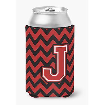 Letra J Chevron preto e vermelho podem ou frasco Hugger