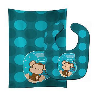 Carolines skarby BB9013STBU Zoo 6 miesiąc Monkey Baby Bib & Burp tkanina