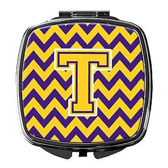 Carolines Treasures  CJ1041-TSCM Letter T Chevron Purple and Gold Compact Mirror