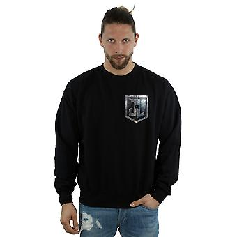 DC Comics mäns Justice League film sköld Faux Pocket Sweatshirt