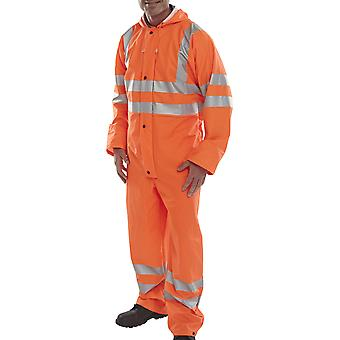 B-Dri Hi Vis Waterproof & Breathable Hooded Coverall ISO 20471 (Go/Rt 3279 RIS3279) - Puc