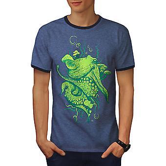 Octopus Beast Men Heather Blue / NavyRinger T-shirt | Wellcoda