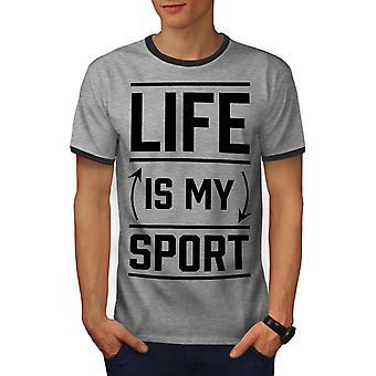 Life Is Sport Quote Funny Men Heather Grey / Heather Dark GreyRinger T-shirt | Wellcoda