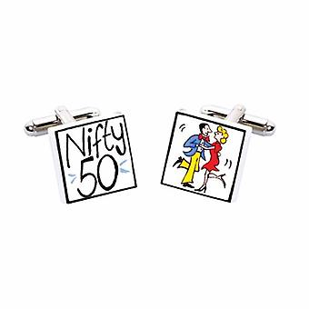 Nifty 50 Cufflinks by Sonia Spencer, in Presentation Gift Box. Hand painted