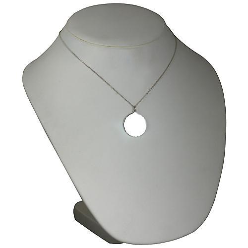 Silver 26mm round diamond cut edge Disc with a curb Chain 18 inches