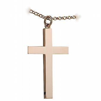 9ct Rose Gold 40x25mm plain solid block Cross with belcher Chain 24 inches