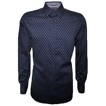 Ted Baker Ted Baker Men's Navy Blue Hartbop Long Sleeve Shirt