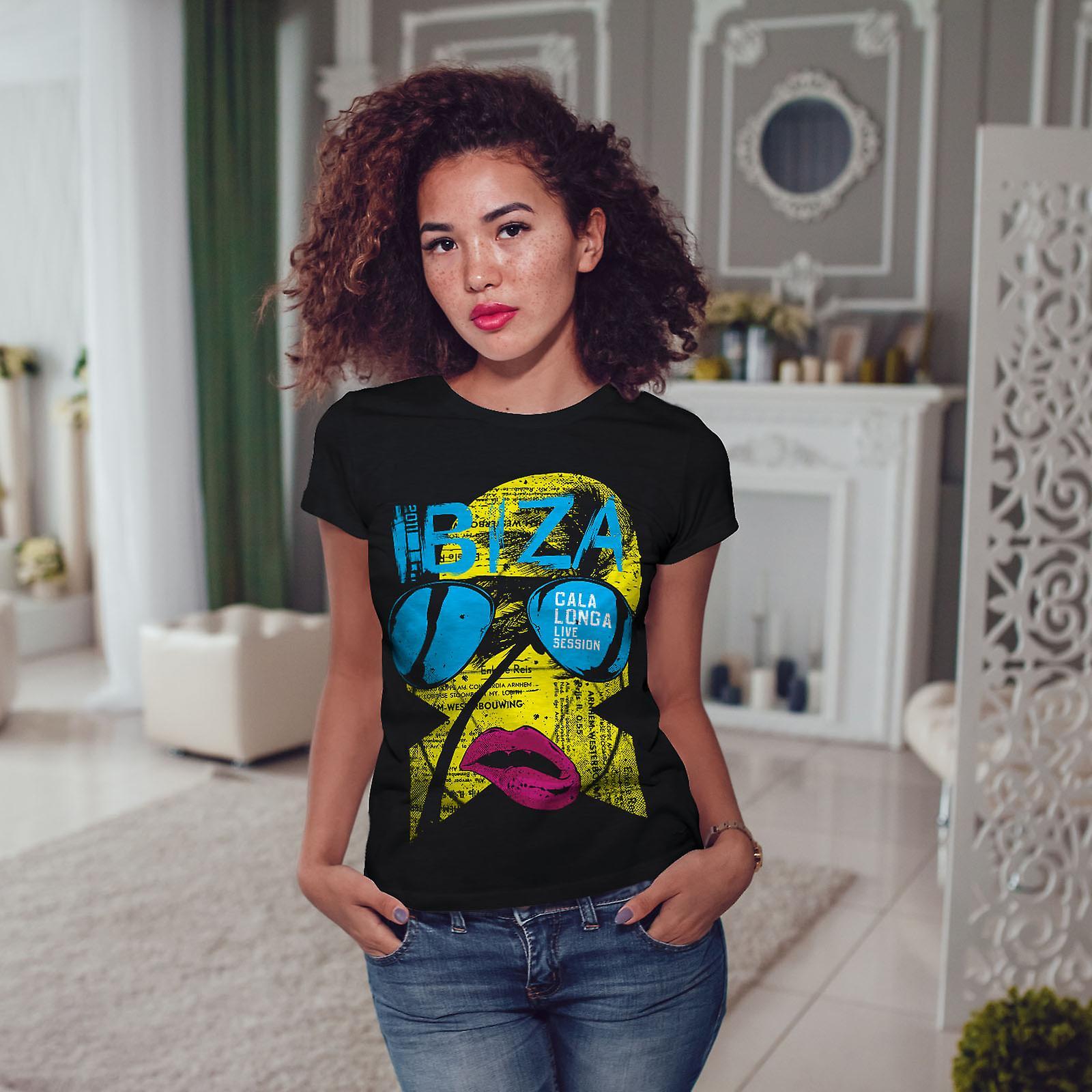 Ibiza Gala Longa Holiday kvinnor BlackT-skjorta | Wellcoda