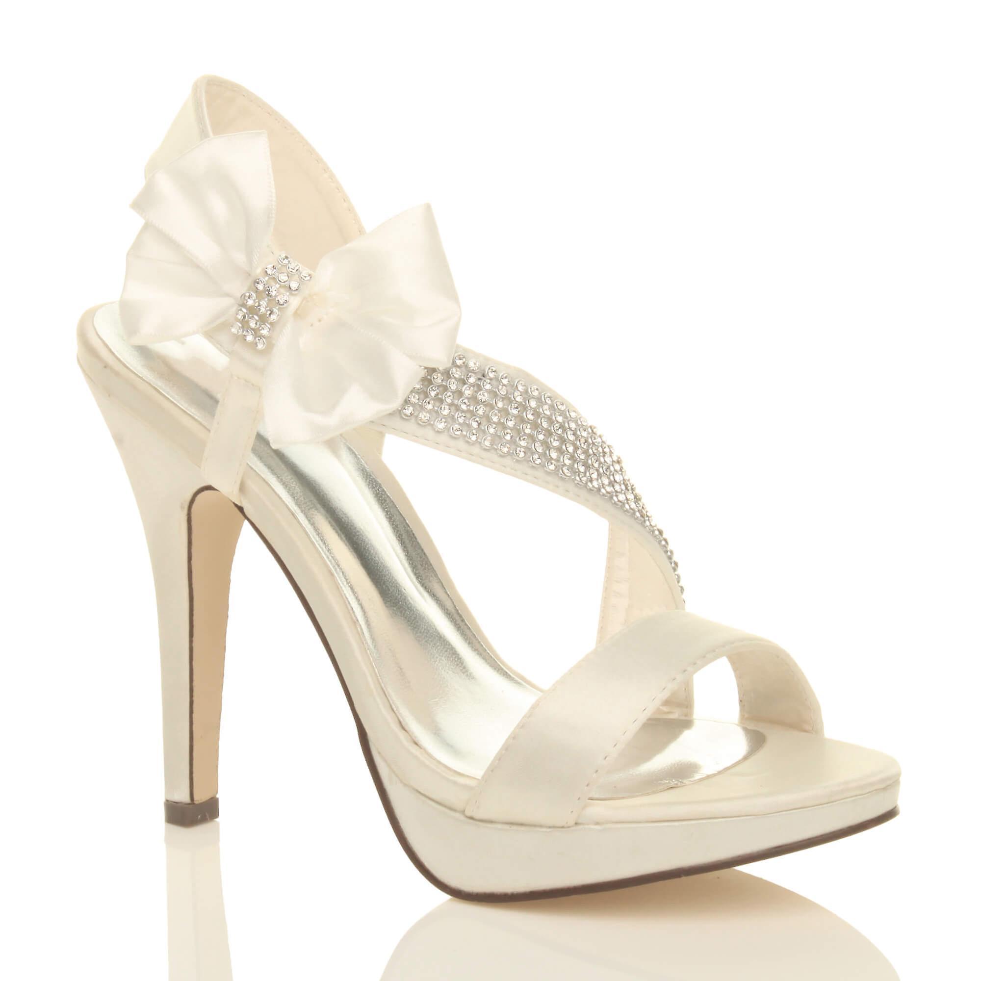 Ajvani Womens Hochzeit Abend Prom Plattform Sandalen Braut Peep Toe Schuhen mit hohen Absätzen