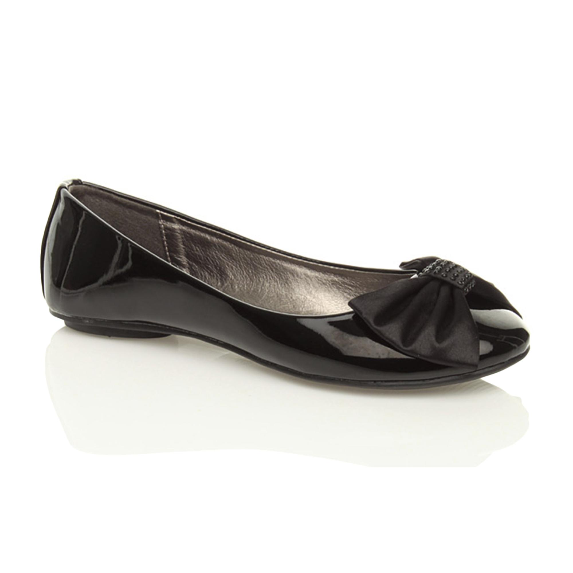 Ajvani womens flat low heel ballerina dolly shoes loafers slip on bow pumps ballet flats