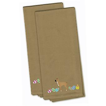 Boxer Easter Tan Embroidered Kitchen Towel Set of 2