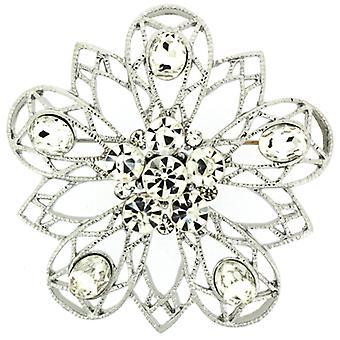 Broscher lagra Crystal filigran stjärna blomma brosch