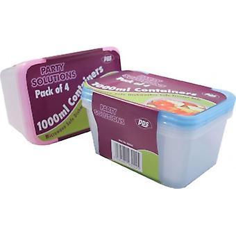 4 plastikowe pojemniki na żywność z pokrywy 1000ml kuchenka zmywarka zamrażarka bezpieczny