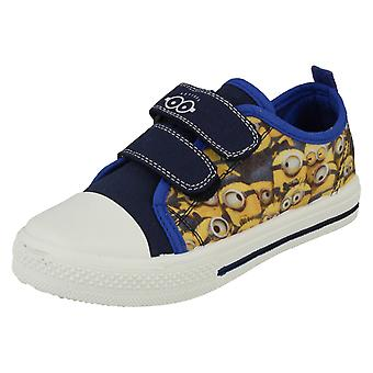Despicable Me Minions Ronskley Blue and Yellow Hook and Loop Canvas Trainers UK Sizes 6 - 12