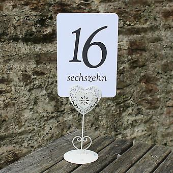 White Wedding Table Numbers - German - Single Card - 1 - 16 Black Numbers