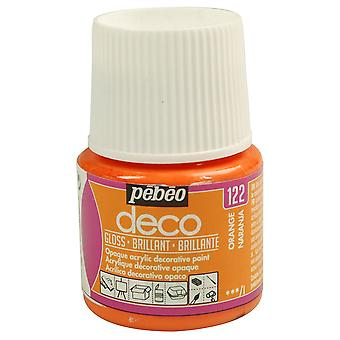Pebeo Deco Water-Based Glossy Colours 45ml (122 Orange)