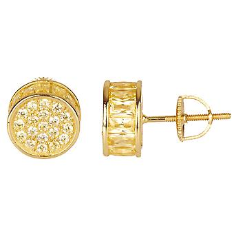 925 MICRO PAVE earrings - round 10 mm gold