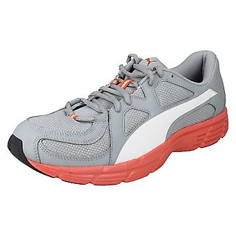 Ladies Puma Lace Up Trainers Axis V3 Mesh 357727 - Quarry/White Synthetic - UK Size 11 - EU Size 46 - US Size 12