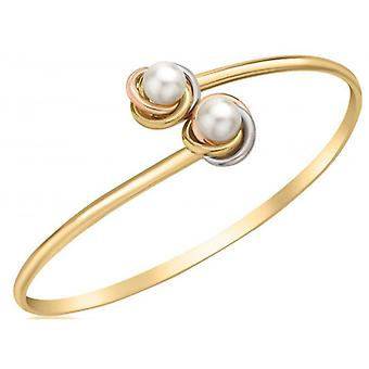 IBB London Knot and Pearl Flexible Bangle - Gold/Silver/Rose Gold