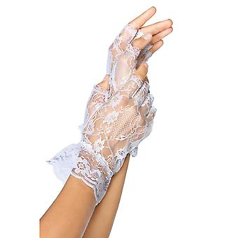 Womens Sexy Fingerless Wrist Length Lace Ruffle Gloves